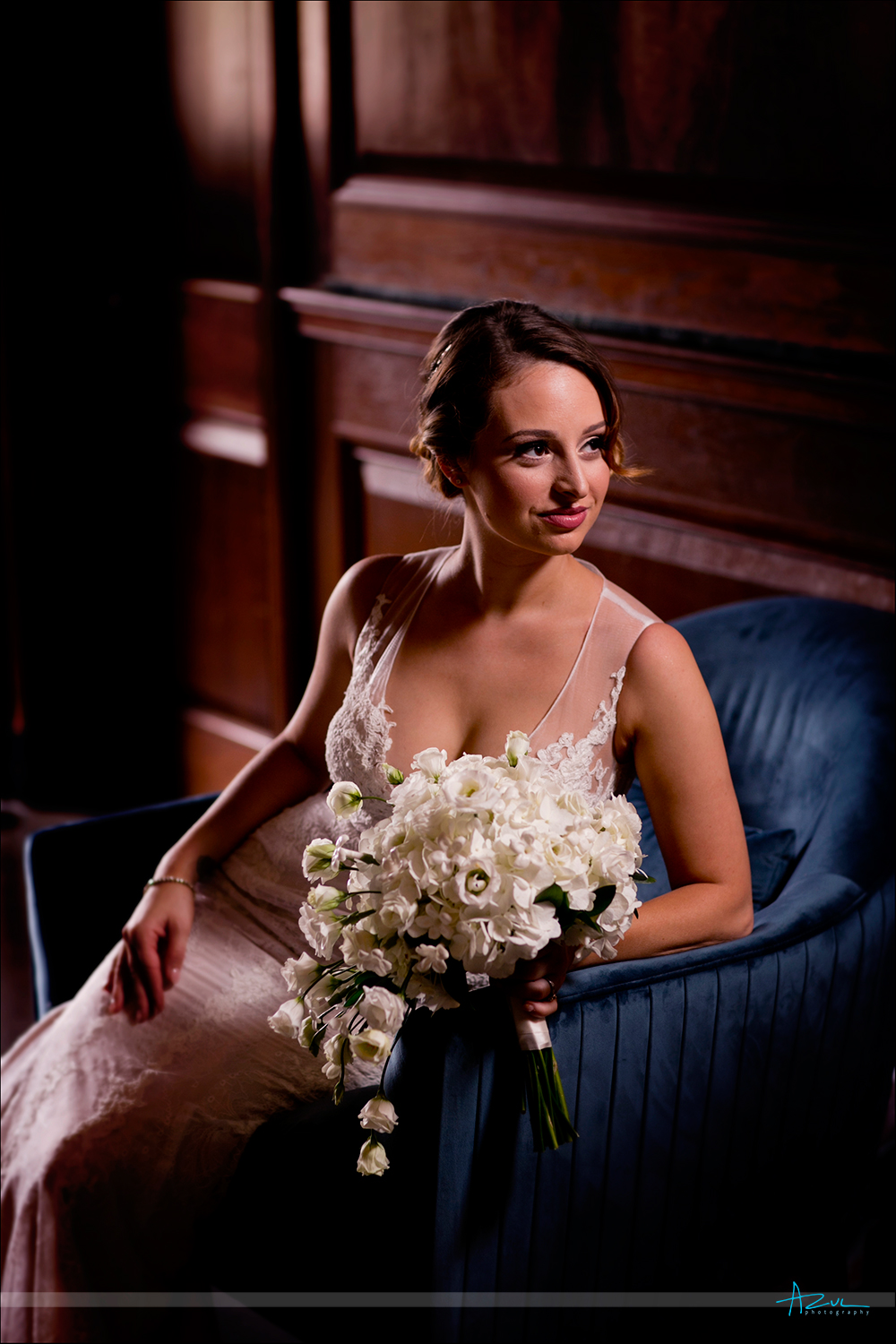 Vintage style bridal portrait with one light technigue for wedding photographers