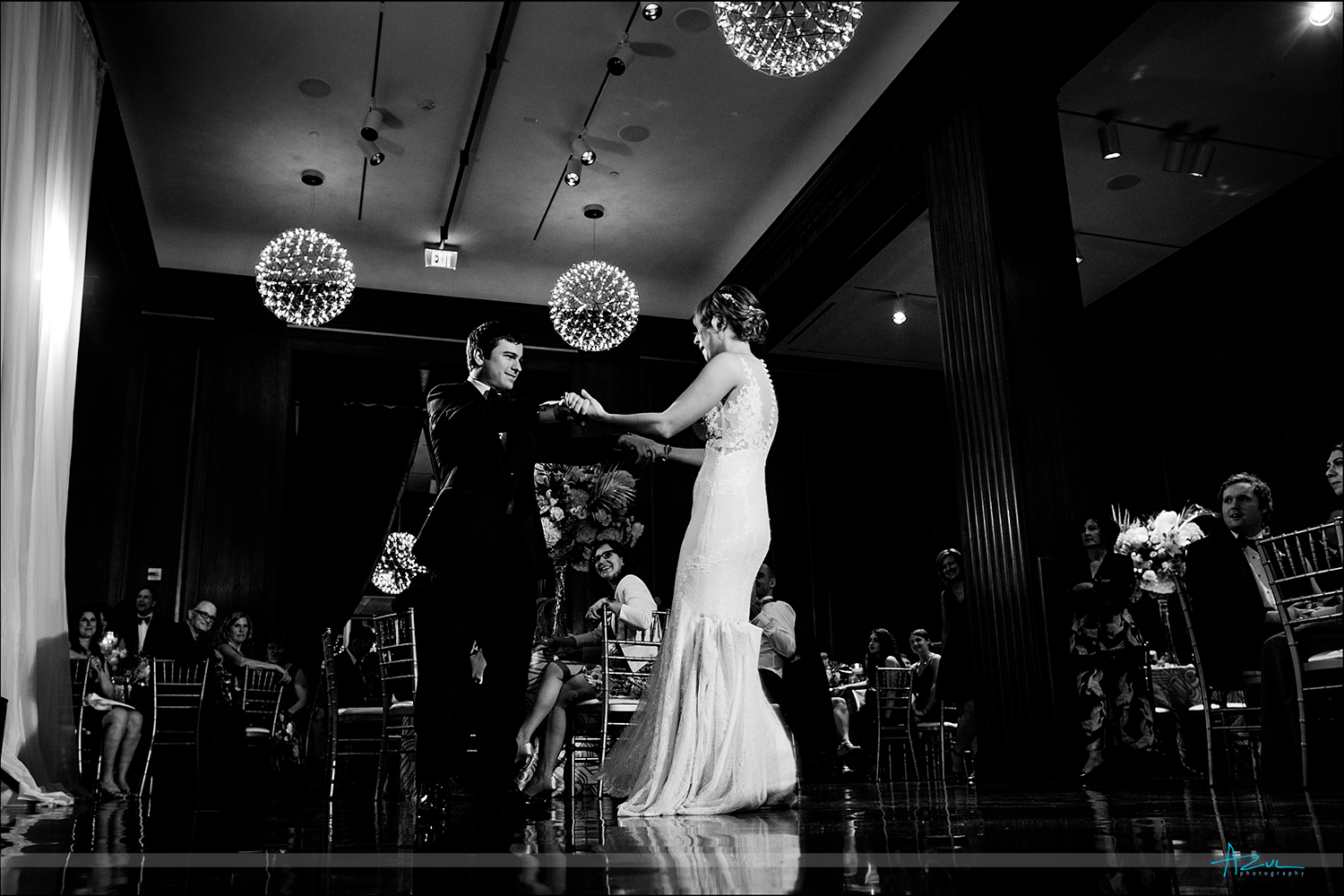 Beautiful firsst dance wedding photographer in Durham at 21c Museum & Hotel