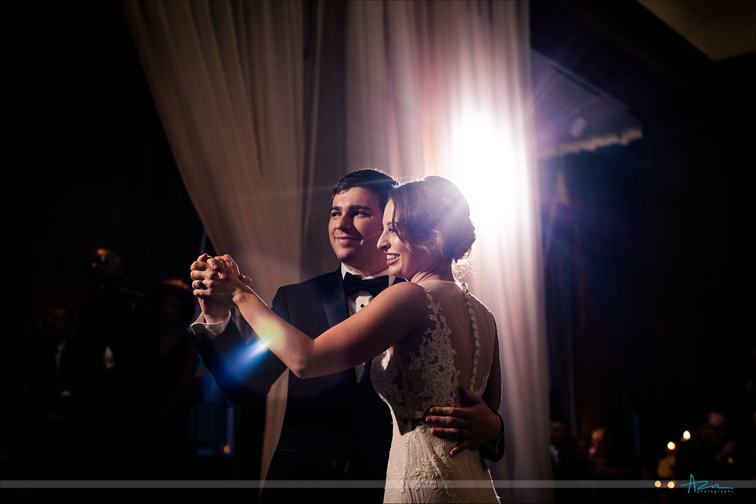 Creative wedding reception first dance photography with strobes at 21c Museum & Hotel